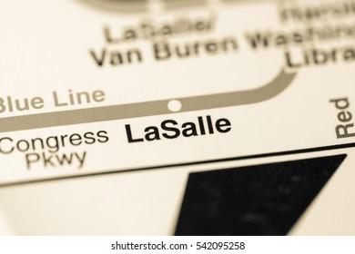 LaSalle Station. Chicago Metro map.
