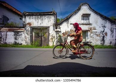 Lasem, Rembang, Central Java / Indonesia - October 13, 2016 : Heritage door, window and building arround corner of Lasem Subdistrict.