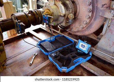 Laser alignment of shaft centrifugal pump. Check alignment and re-adjust. Laser alignment check rotating equipment and re-adjust.