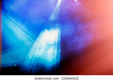 laser beams illuminate the scene in a haze during the performance. Banner for design.