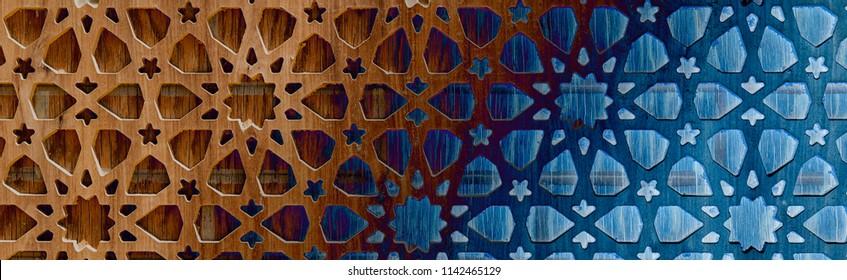 Laser cut template panel, die cut geometric pattern rectangle shape