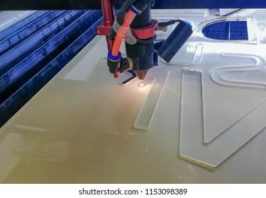 Laser cutting acrylic PMMA. Laser cnc mashine.