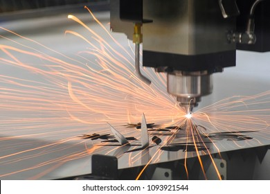 Laser cutting machine at a work