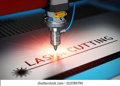 Laser cutting metal industry concept: macro view of industrial digital CNC - computer numerical control CO2 invisible laser beam cutter machine cutting metal sheet with lot of bright shiny sparkles