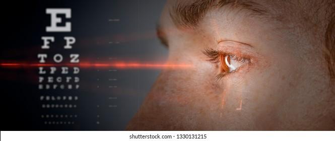 laser eye  scan  or eye doctor surgery concept