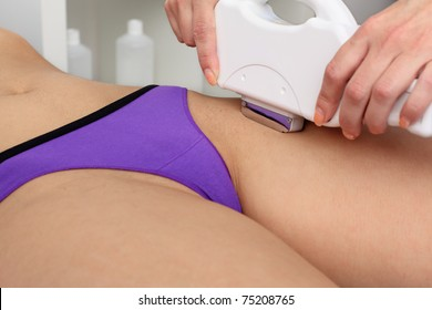 Laser hair removal within part of  bikini. Intentional shallow depth of field.