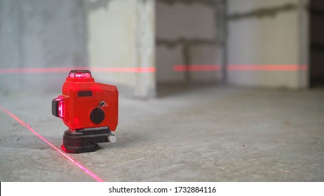 Laser level, construction, finishing work in the room. construction laser Level at work. - Shutterstock ID 1732884116