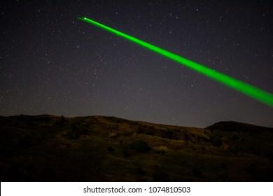 Laser on starry sky