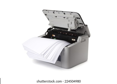 laser printer isolated on white background with path