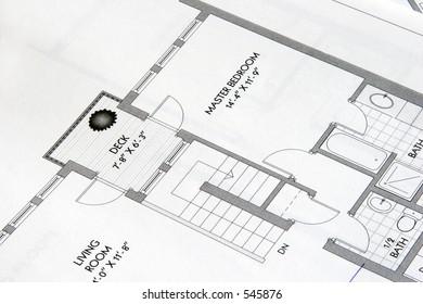 Laser printout of architectural plan drawing