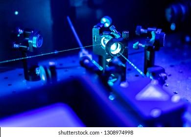laser reflect on optic table un quantum laboratory