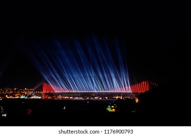 Laser show on the bridge at Bosporus, Istanbul
