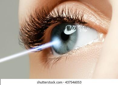 Laser vision correction. Woman's eye. Human eye. Woman eye with laser correction. Eyesight concept. Future technology, medicine and vision concept