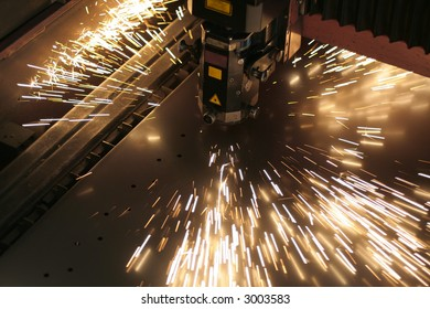 Lasercutting close-up from metalwork industry.