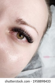 lash extensions in beauty salon macro eye before and after
