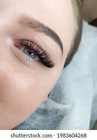 lash extensions macro blue eye top view