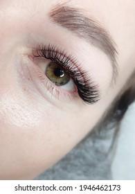 lash extensions macro eye top view
