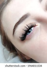 lash extensions macro eye top view. fake lashes Kim effect