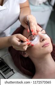 Lash lengthening treatment at beauty salon