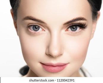 Lashes extension before after, eyelash, beautiful woman eyescloseup