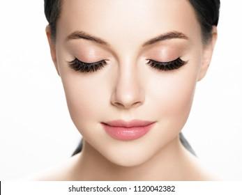 Lashes extension, eyelash, beautiful woman eyescloseup