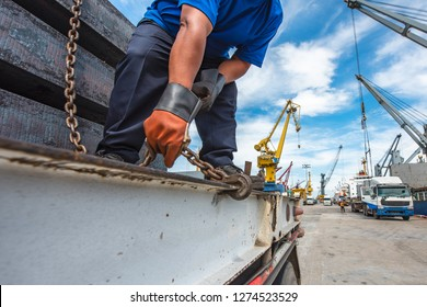 lashing and securing cargo on the trailer prior transportdelivery to the destination for safety, working in port by the gang of stevedore labor