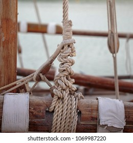 Lashings on the rigging of a sailing dhow in Doha, Qatar