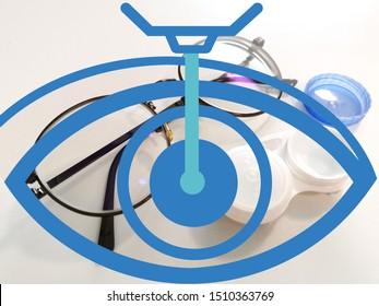 Lasik eye surgery symbol on eyeglasses and contact lens case