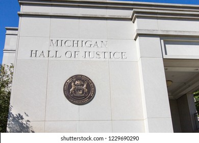 Lasing, Michigan, USA - September 17, 2018: Exterior of the Michigan Hall of Justice in downtown Lansing. The building is home to the Supreme Court of Michigan.