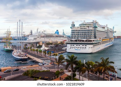 Las-Palmas de Gran Canaria, Spain, on January 5, 2018. The cruise ship, is moored in Las Palmas de Gran Canaria port