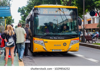 Las-Palmas de Gran Canaria, Spain, on January 11, 2018. Passengers come into the bus at a stop