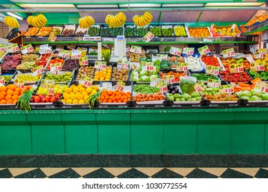 Las-Palmas de Gran Canaria, Spain, on January 12, 2018. Various fresh vegetables and fruit are laid out on a show-window of the market