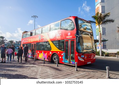 Las-Palmas de Gran Canaria, Spain, on January 11, 2018. The excursion hop on hop off bus goes on the city street