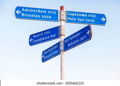 Las-Palmas de Gran Canaria, Spain, on January 5, 2018. Plates with names of the cities specify the direction to them and report distance