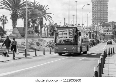 Las-Palmas de Gran Canaria, Spain, on January 10, 2018. Urban view. The bus goes on the beautiful street
