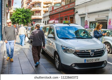 Las-Palmas de Gran Canaria, Spain, on January 10, 2018. Urban view. The taxi goes on the beautiful street