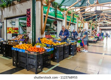 Las-Palmas de Gran Canaria, Spain, on January 10, 2018. Various vegetables and fruit are laid out on counters of the city market