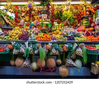 Las-Palmas de Gran Canaria, Spain, on January 6, 2018. Trade in fresh vegetables and fruit in the historical farmer Mercado de Vegueta market