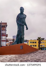 Las-Palmas de Gran Canaria, Spain, on January 10, 2018. A monument to Alfredo Krauss on the bank of the Atlantic Ocean