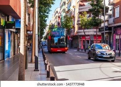 Las-Palmas de Gran Canaria, Spain, on January 9, 2018. The excursion hop on hop off bus goes on the city street