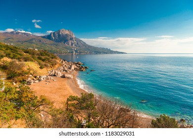 Laspi bay, Crimea seascape in autumn