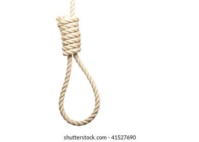 Lasso prepared for suicide on white background.