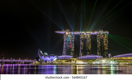 Last 10 seconds of Laser Show at Marina Bay Sands in Singapore. On October 24, 2016