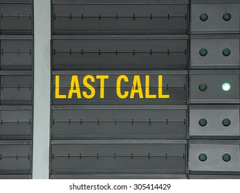 Last call message on airport information board.