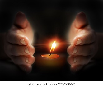 Last candle light in hand