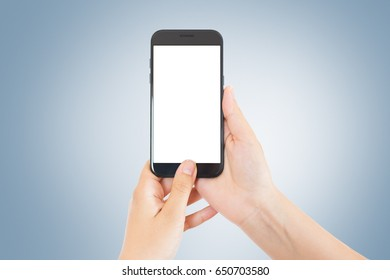 Last generation smarphone in woman hands with blue gradient background