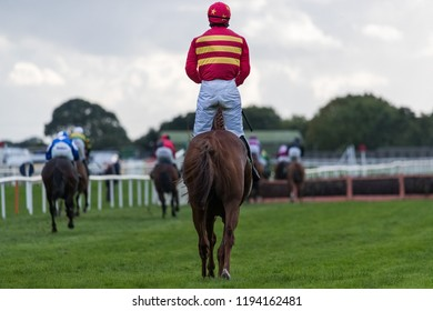 Last horse and jockey in the race