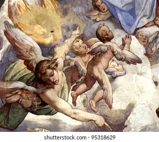 The Last Judgment in the cathedral of Florence. Vasari's fresco begun in 1572, and completed by Federico Zuccaro.