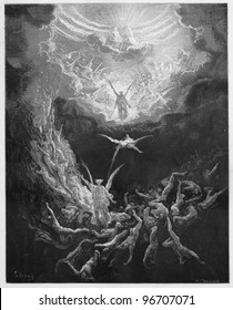 The Last Judgment - Picture from The Holy Scriptures, Old and New Testaments books collection published in 1885, Stuttgart-Germany. Drawings by Gustave Dore.