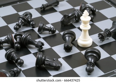 Last king of chess in concept of winner to fight all enemy and victory